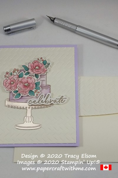 "Pretty card with ""celebrate"" sentiment and tiered cake image from the FREE Happy Birthday To You Stamp Set and also using the coordinating Birthday Dies from Stampin' Up! #papercraftwithme"