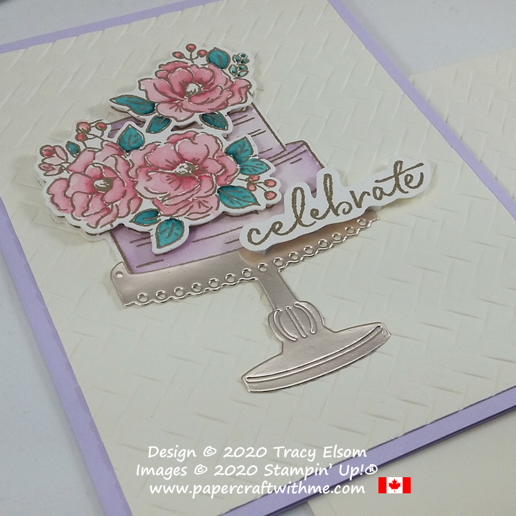 """Pretty card with """"celebrate"""" sentiment and tiered cake image from the FREE Happy Birthday To You Stamp Set and also using the coordinating Birthday Dies from Stampin' Up! #papercraftwithme"""