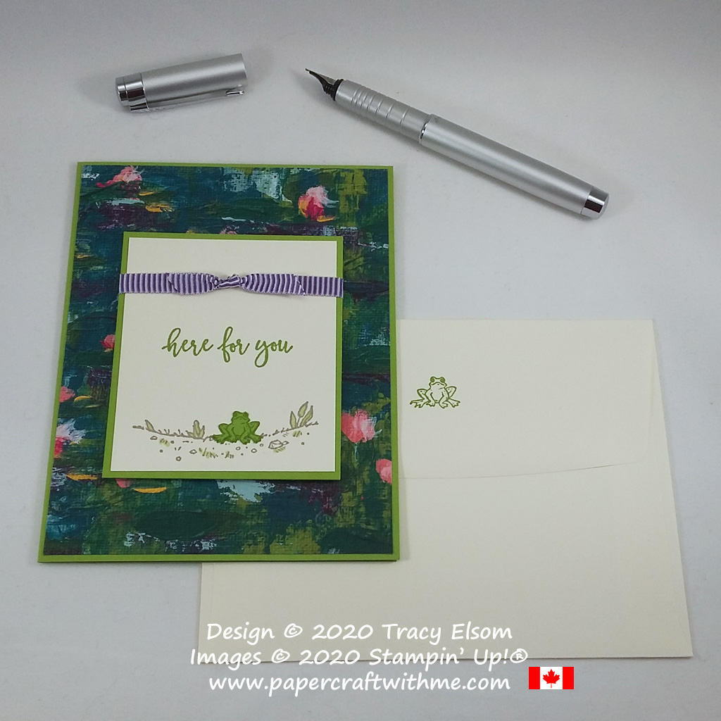 """Here for you"" card with cute frog image created using the By The Dock Stamp Set from Stampin' Up! #simplestamping #papercraftwithme"