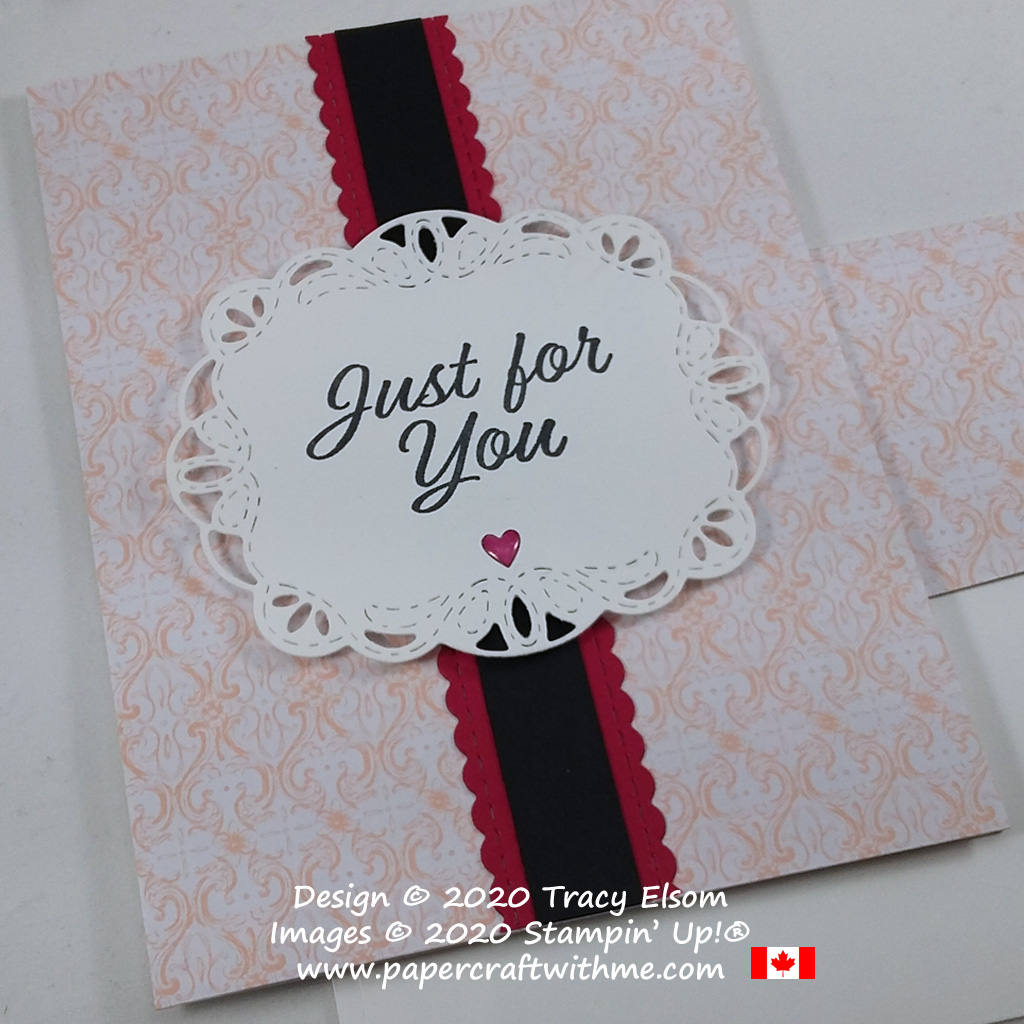"""Just For You"" card created using the Meant to Be Stamp Set, with the Stitched Be Mine and Stitched Labels Dies, all from Stampin' Up! #papercraftwithme"