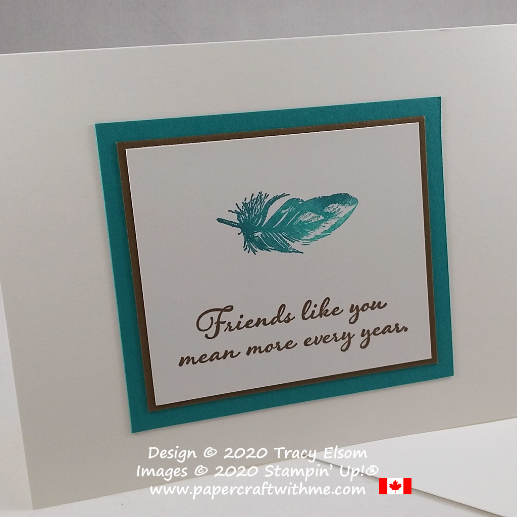 """Create this simple card with feather image and """"Friends like you mean more every year"""" sentiment using the Positive Thoughts Stamp Set from Stampin' Up! #simplestamping #papercraftwithme"""