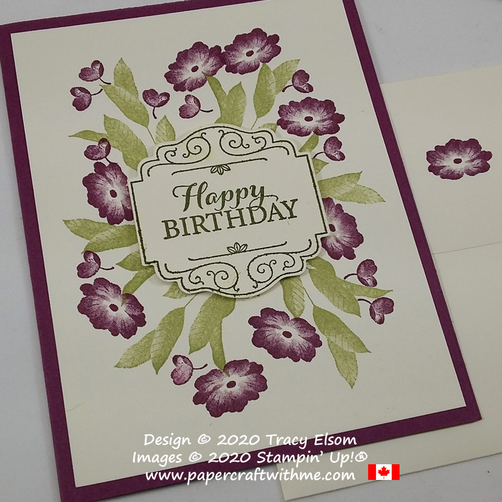 Rich Razzleberry coloured floral birthday card created using the Layered With Kindness Stamp Set and coordinating Label Me Lovely Punch from Stampin' Up! #papercraftwithme