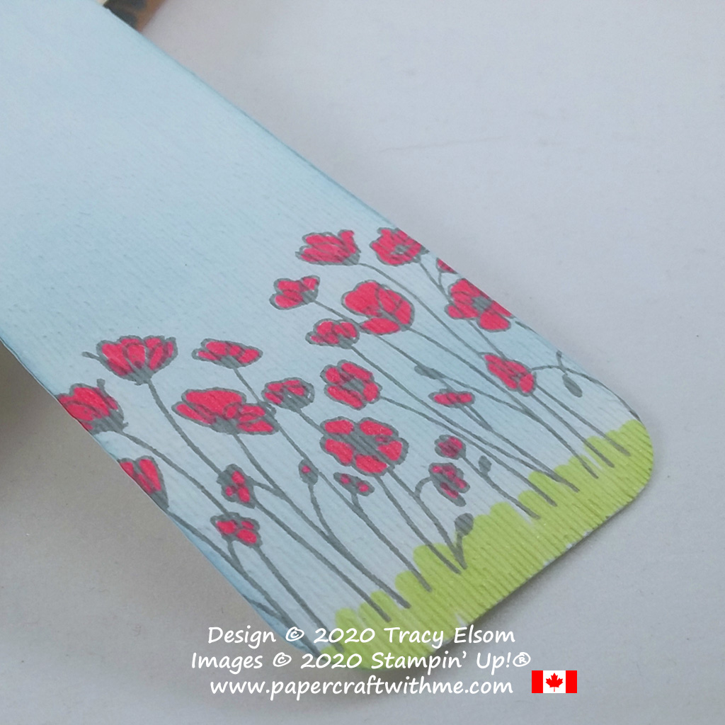 Close up of textured poppy field bookmark created using the Painted Poppies Stamp Set and Subtle Embossing Folder from Stampin' Up! #papercraftwithme