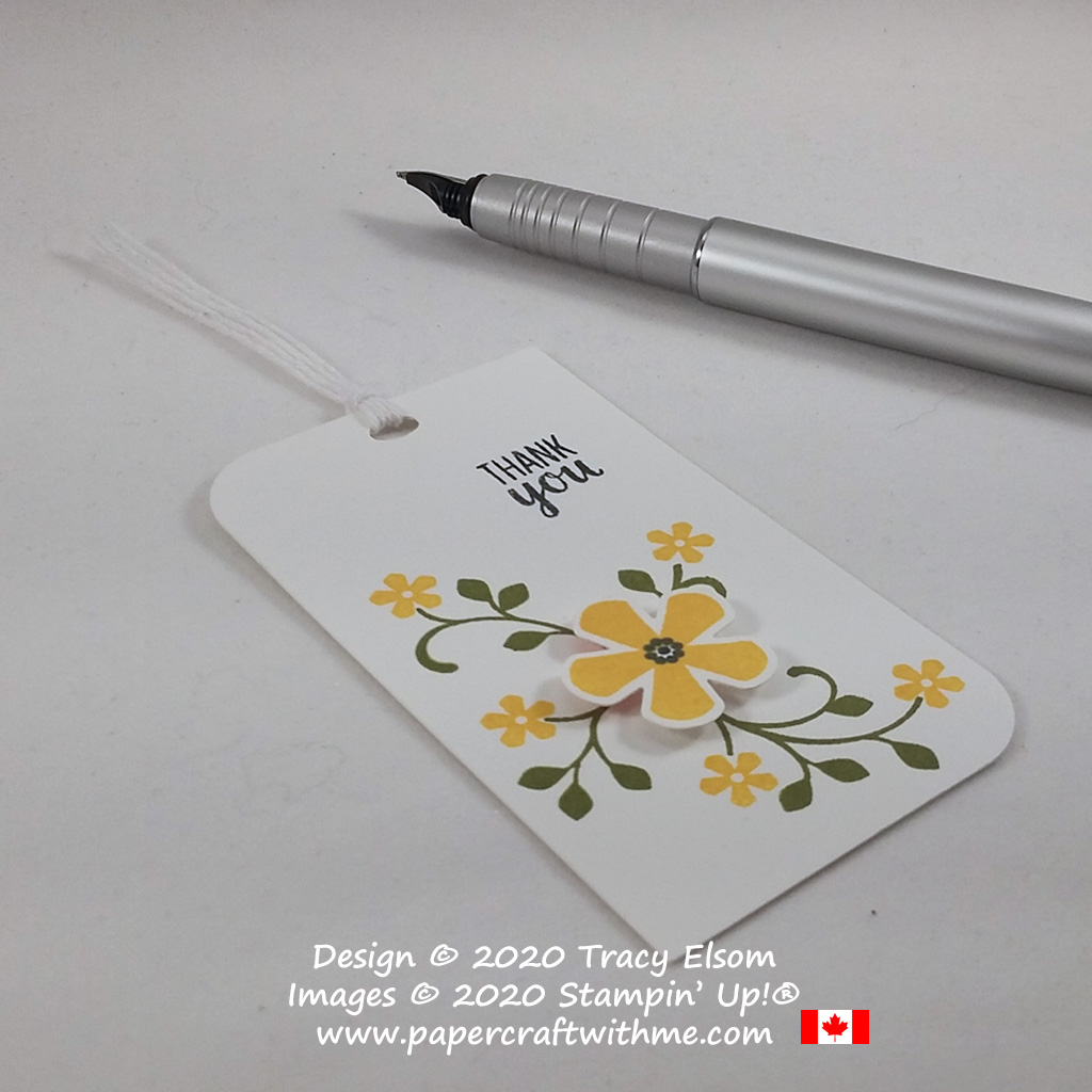 Simple thank you gift tag with Black-eyed Susan design created using the FREE Thoughtful Blooms Stamp Set and coordinating Small Bloom Punch from Stampin' Up! #papercraftwithme