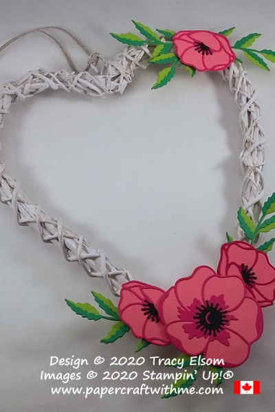 For Valentine's Day and more, decorate a heart-shaped rattan wreath with poppy sprays using the Poppy Moments Dies from Stampin' Up! #papercraftwithme