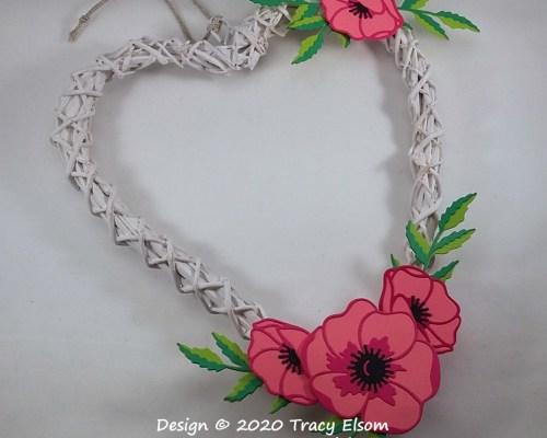 P97 Heart-shaped Poppy Rattan Wreath