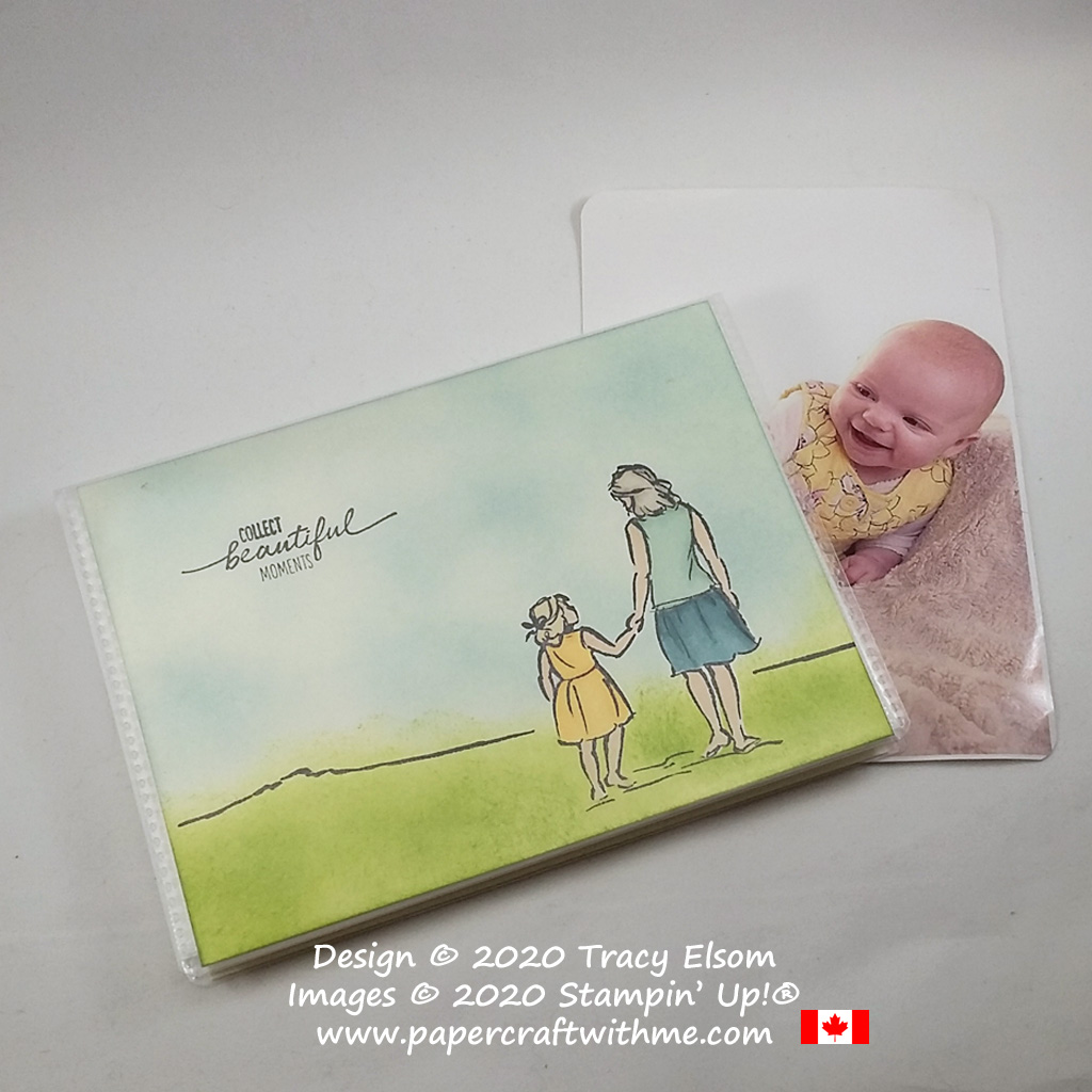"4"" x 6"" pocket photo album decorated with a ""collect beautiful moments"" sentiment and simple outdoor scene using the Beautiful Moments Stamp Set from Stampin' Up! #papercraftwithme"