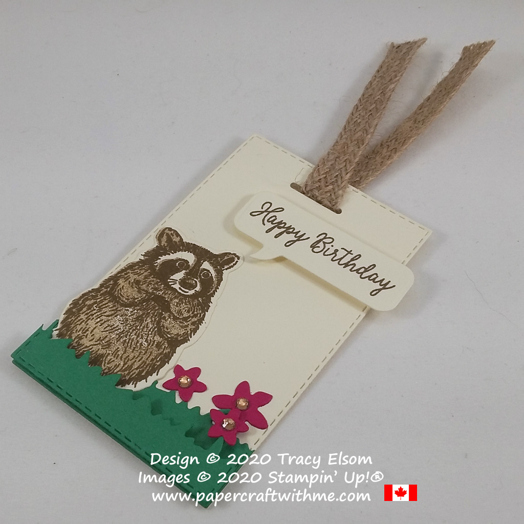 "Cute raccoon gift tag with ""Happy birthday"" in a speech bubble created using the Special Someone Stamp Set and coordinating Special Day Dies from Stampin' Up! #papercraftwithme"