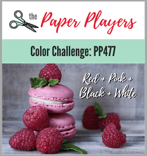 The Paper Players colour challenge PP477 - red, pink, black and white (Feb 9 to 14, 2020)