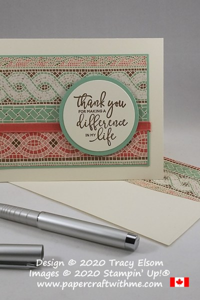 """Thank you for making a difference in my life"" created using the By The Dock Stamp Set and Mosaic Mood Specialty DSP from Stampin' Up! #papercraftwithme"