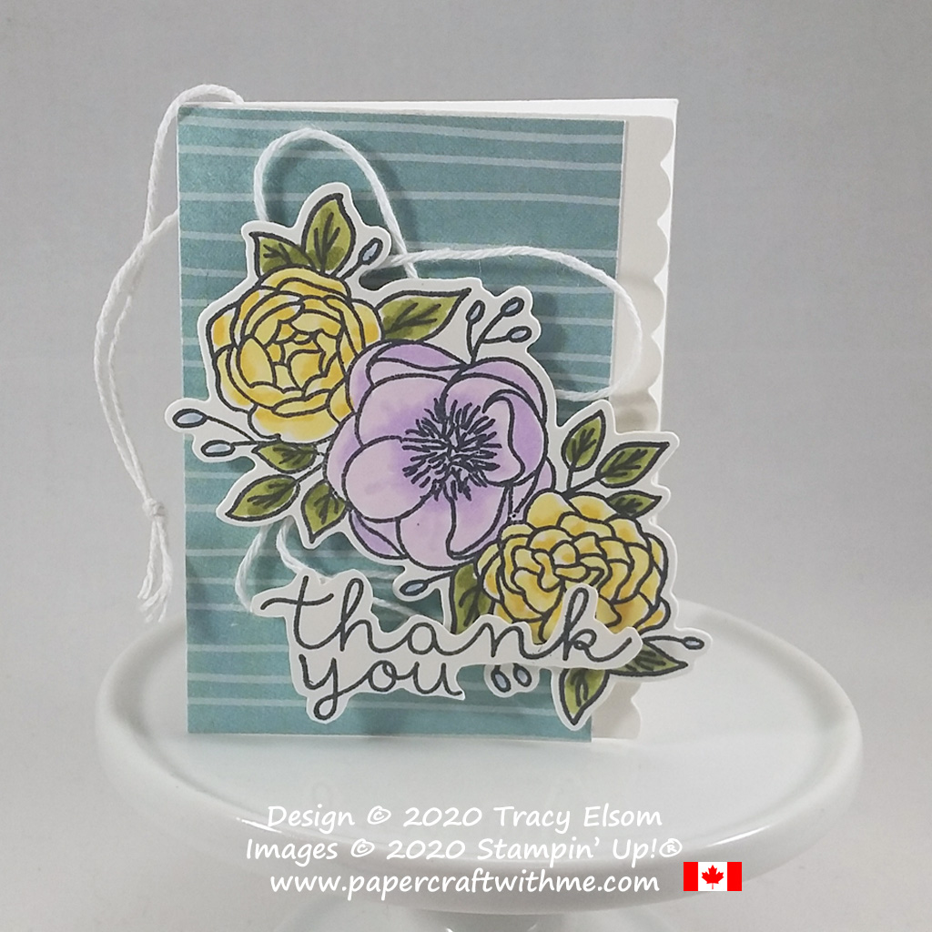 Pretty thank you gift tag created using the Bloom & Grow Stamp Set and coordinating Budding Blooms Dies from Stampin' Up! #papercraftwithme