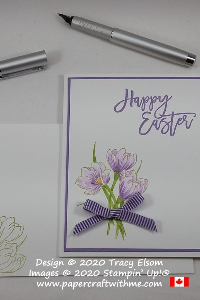 Simple card with large crocuses image and sentiment created using the Easter Promise Stamp Set and markers from Stampin' Up! #papercraftwithme