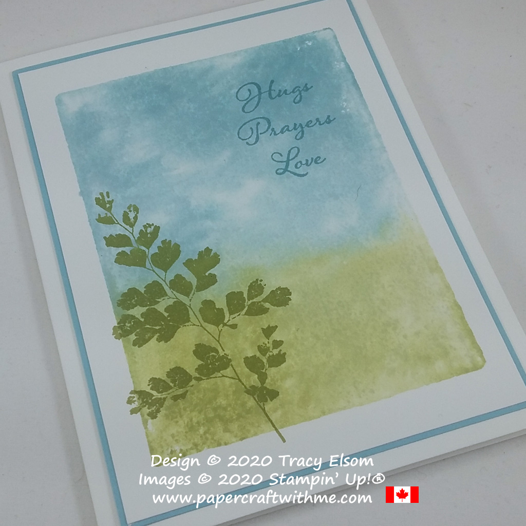 """Simple """"Hugs Prayers Love"""" card with block stamped background created using the Positive Thoughts Stamp Set from Stampin' Up! #papercraftwithme #simplestamping"""