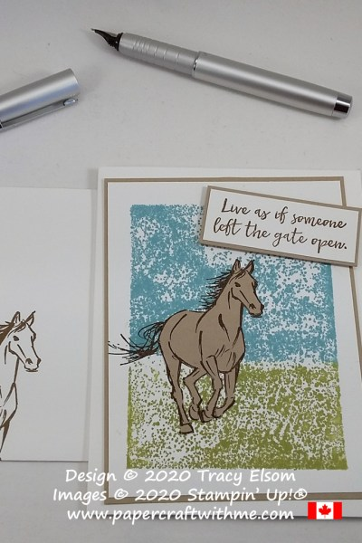 "Simple card with ""Live as if someone left the gate open"" sentiment and horse image over a block stamped background created using the Let It Ride Stamp Set from Stampin' Up! #papercraftwithme"