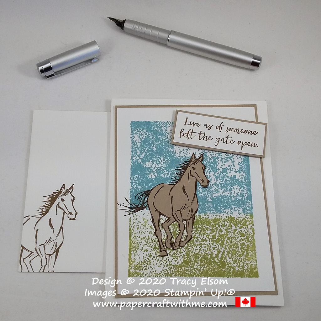 """Simple card with """"Live as if someone left the gate open"""" sentiment and horse image over a block stamped background created using the Let It Ride Stamp Set from Stampin' Up! #papercraftwithme"""