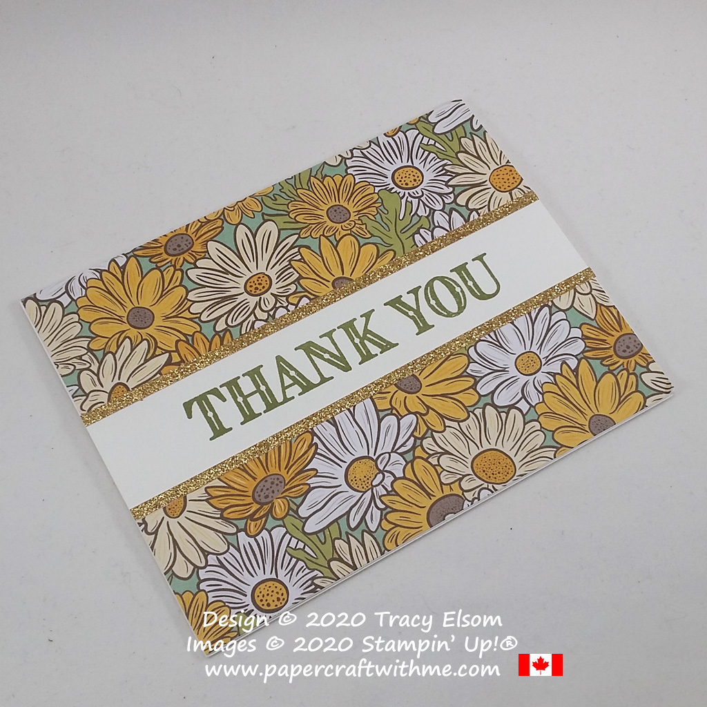 Simple thank you card created using the Ornate Thanks Stamp Set, Ornate Garden Specialty DSP and Gold Glimmer Paper from Stampin' Up! #papercraftwithme