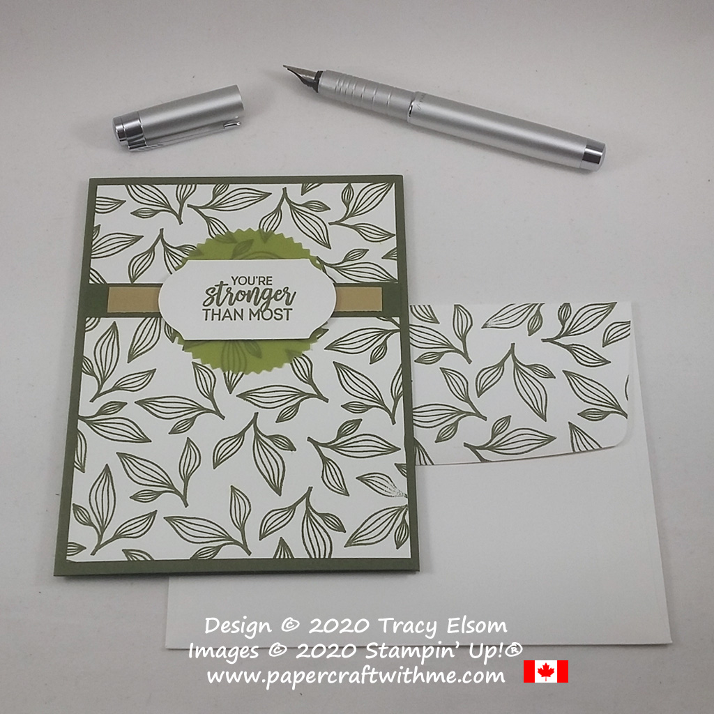 "Masculine / gender neutral card with ""You're stronger than most"" sentiment and leaf image from the Beautiful Promenade Stamp Set from Stampin' Up! #papercraftwithme"