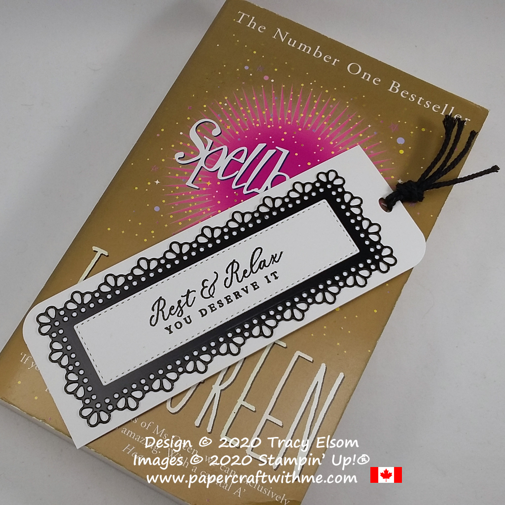 "Elegant black and white bookmark with ""rest & relax"" sentiment, created using the the Timeless Tropical Stamp Set and Ornate Layers Dies from Stampin' Up! #papercraftwithme"