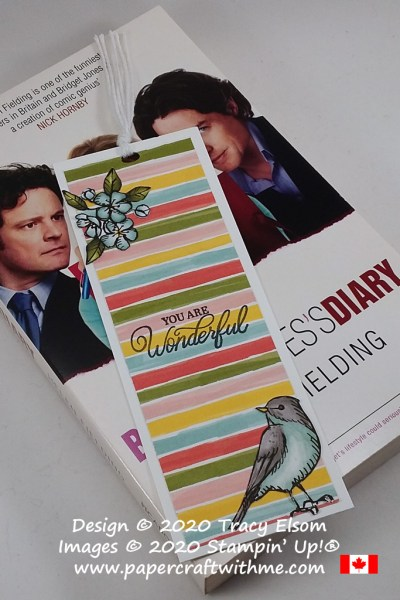 """Colourful bookmark with """"You are wonderful"""" sentiment created using the Perfectly Framed Stamp Set and Bird Ballad DSP paper from Stampin' Up! #papercraftwithme"""
