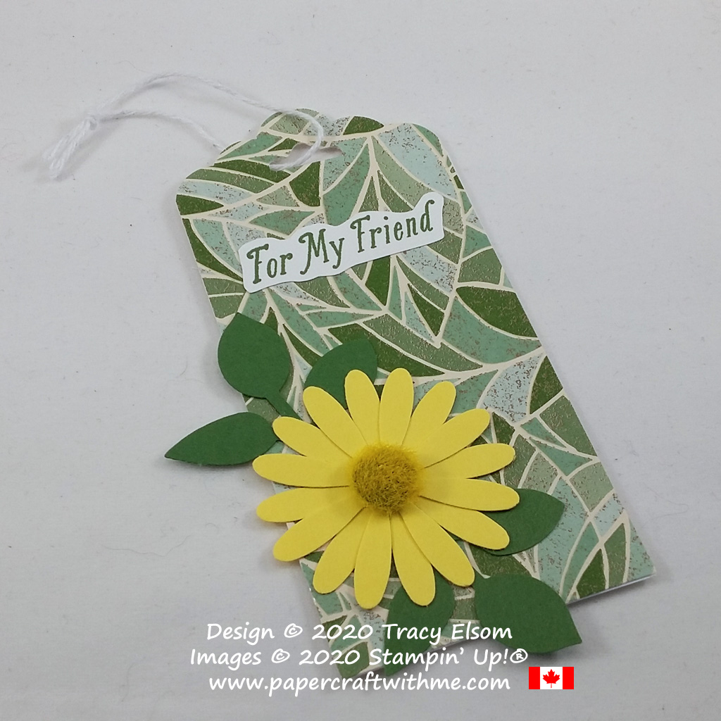 """Gift tag with """"for my friend"""" sentiment created using the Special Celebrations Stamp Set with Leaf and Medium Daisy Punches, all from Stampin' Up! #papercraftwithme"""