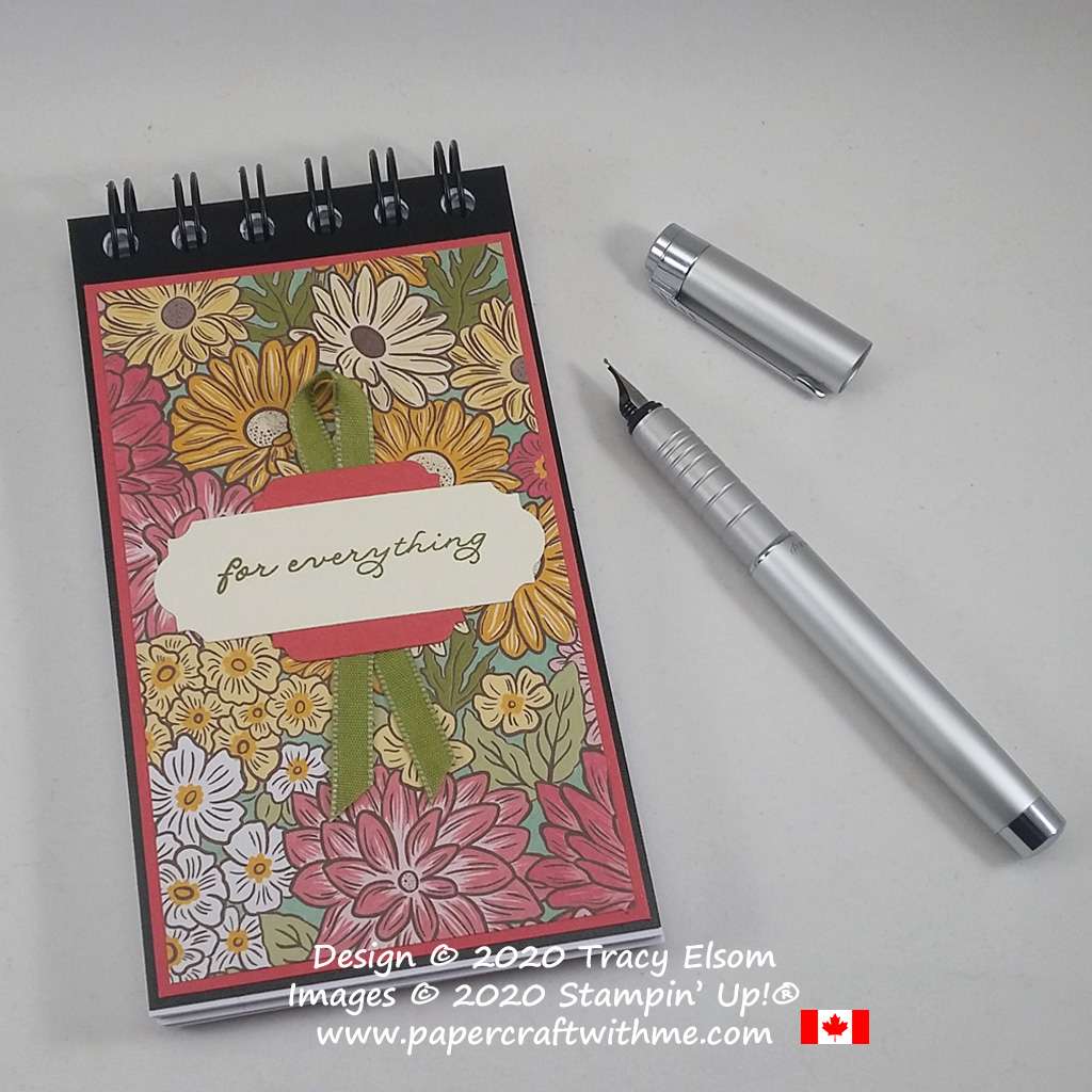 Create this pretty floral notepad for everything with the Ornate Garden paper, Ornate Thanks Stamp Set and Ornate Frames Dies from Stampin' Up! #papercraftwithme