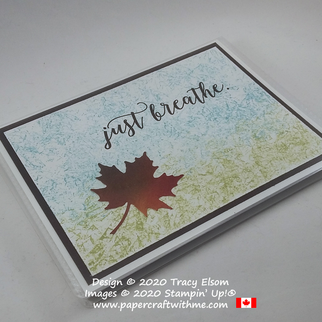 "Pocket photo album cover decorated with a maple leaf and ""just breathe"" sentiment created using the Colorful Seasons Stamp Set and Seasonal Layers Dies from Stampin' Up! #papercraftwithme"