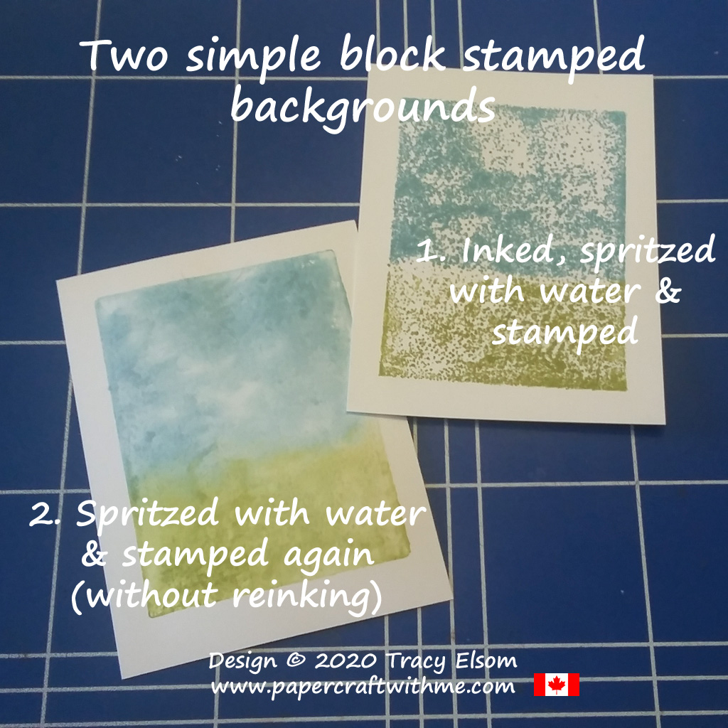 Two stages for the simple block stamped background technique #papercraftwithme #simplestamping