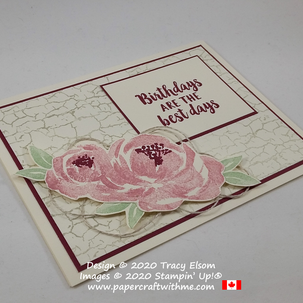 Feminine birthday card created using the Beautiful Friendship and Crackle Paint Stamp Sets from Stampin' Up! #papercraftwithme #simplestamping