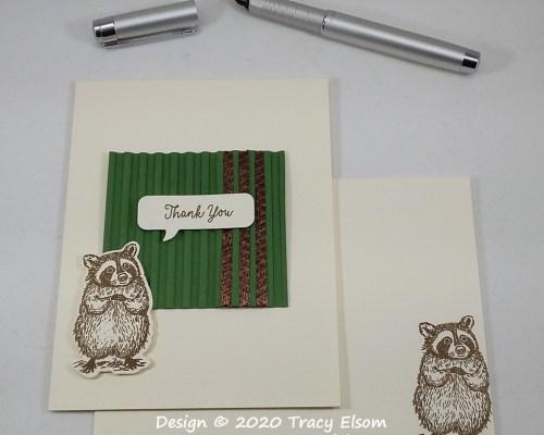 1972 Raccoon Thank You Card