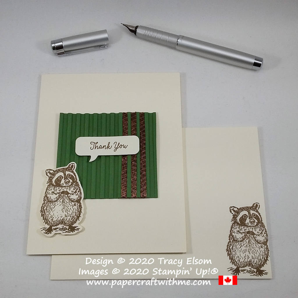 Sweet thank you card with corrugated panel and raccoon image created using the Special Someone Stamp Set, Special Day Dies and Corrugated 3D Embossing Folder from Stampin' Up! #papercraftwithme