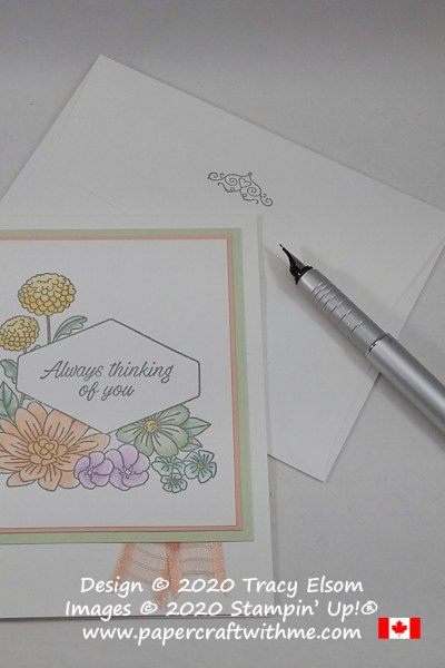 "Pastel floral ""thinking of you"" card created using the Accented Blooms Stamp Set and Stampin' Blends alcohol markers from Stampin' Up! #papercraftwithme"