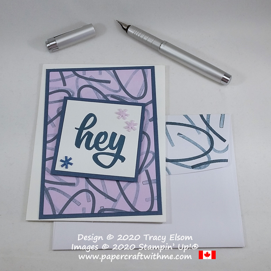 "Simple card with ""hey"" sentiment and hand-stamped background created using the May 2020 Paper Pumpkin kit - A Kit In Color from Stampin' Up! #papercraftwithme"