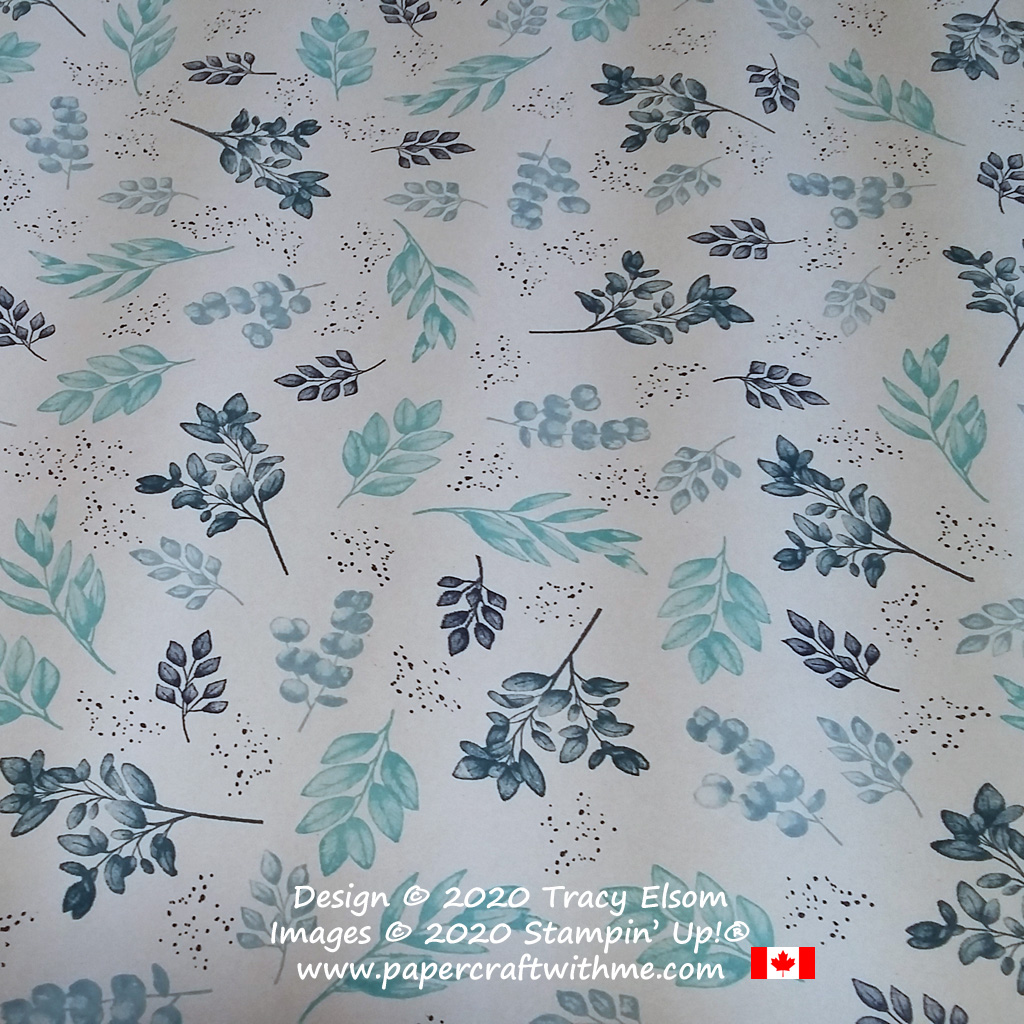 Gift wrap with hand stamped leaf design in shades of blue created using the Forever Fern Stamp Set from Stampin' Up! #papercraftwithme