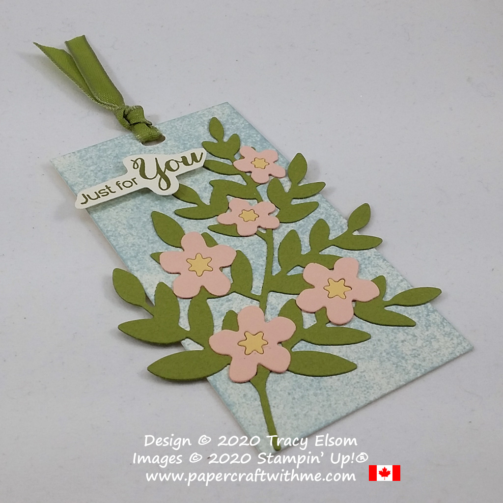 "Blossom branch ""just for you"" gift tag created by combining the Forever Flourishing Dies and Cherry Blossoms Dies from Stampin' Up! #papercraftwithme"