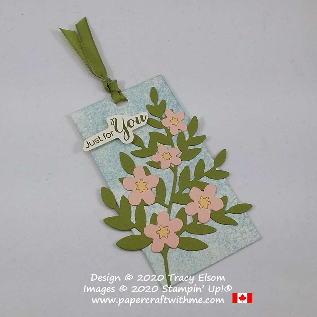 """Blossom branch """"just for you"""" gift tag created by combining the Forever Flourishing Dies and Cherry Blossoms Dies from Stampin' Up! #papercraftwithme"""