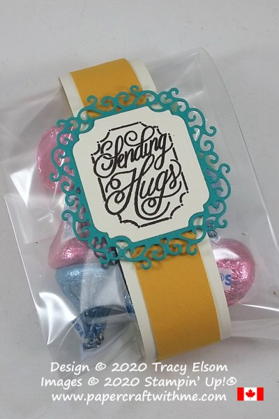 """Treat bag filled with Hershey's Kisses and """"Sending Hugs"""" sentiment created using the Perfectly Framed Stamp Set and Ornate Frames Dies from Stampin' Up! #papercraftwithme"""