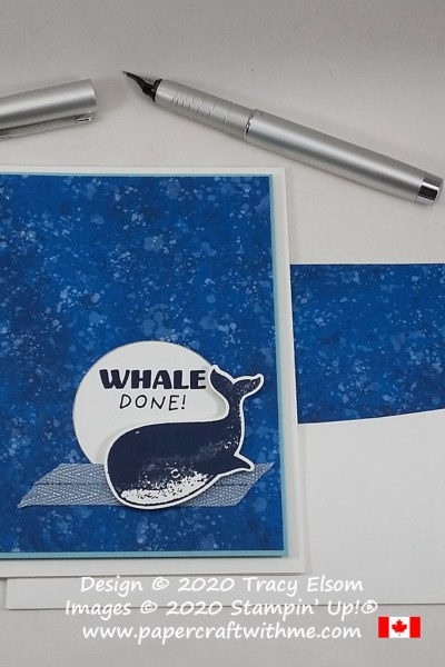 "Masculine card created using the ""Whale done"" sentiment and whale image from the Whale Done Stamp Set by Stampin' Up! #papercraftwithme"