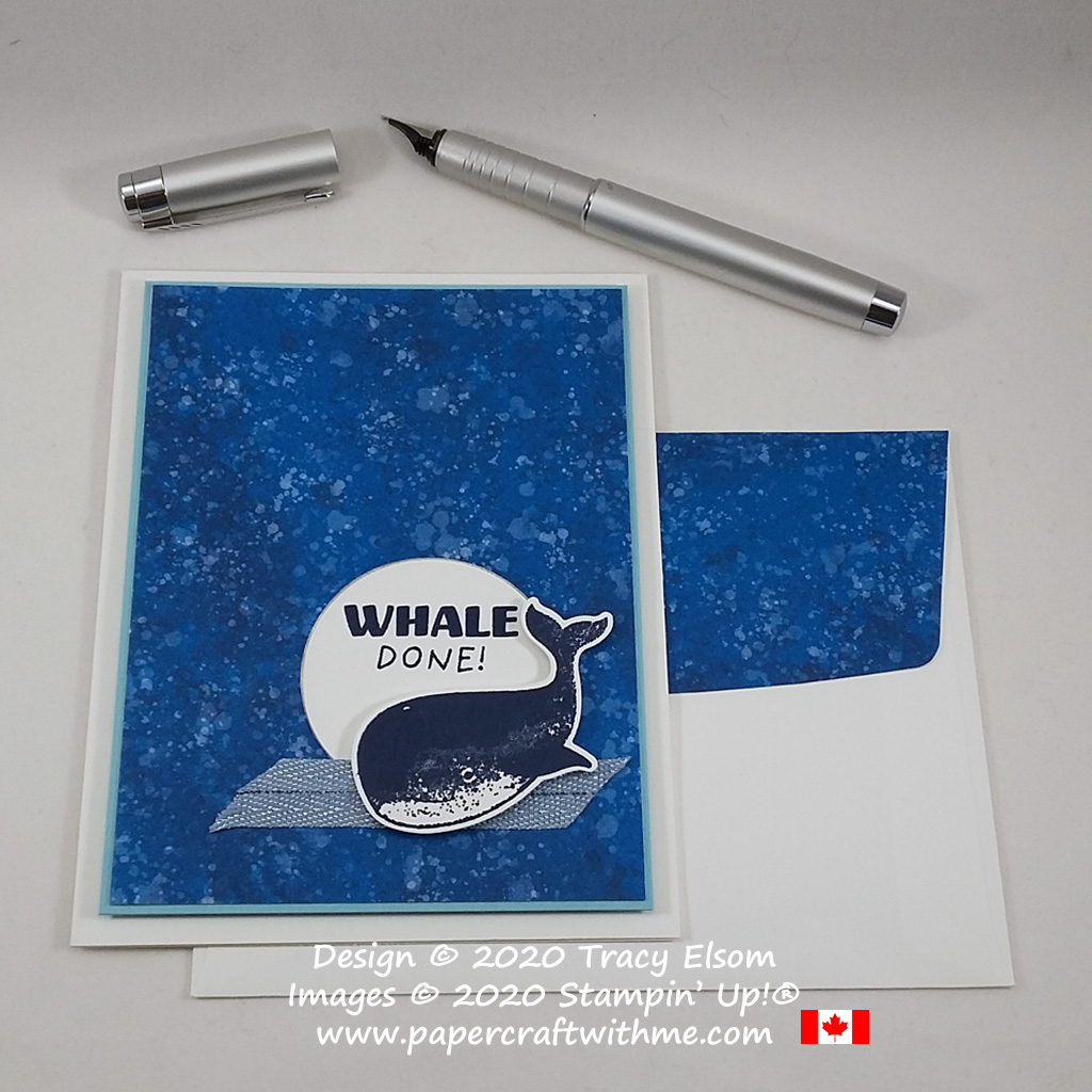 """Masculine card created using the """"Whale done"""" sentiment and whale image from the Whale Done Stamp Set by Stampin' Up! #papercraftwithme"""