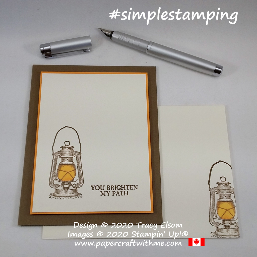 "#simplestamping card with lantern image and ""you brighten my path"" sentiment from the Campology Stamp Set from Stampin' Up! #papercraftwithme"