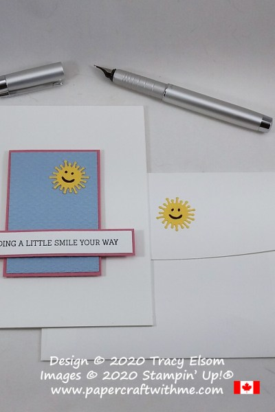 """Sending a little smile your way"" card created using the Fancy Phrases Stamp Set, Poppy Moments Dies and Tasteful Textile 3D Embossing Folder, all from Stampin' Up! #papercraftwithme"