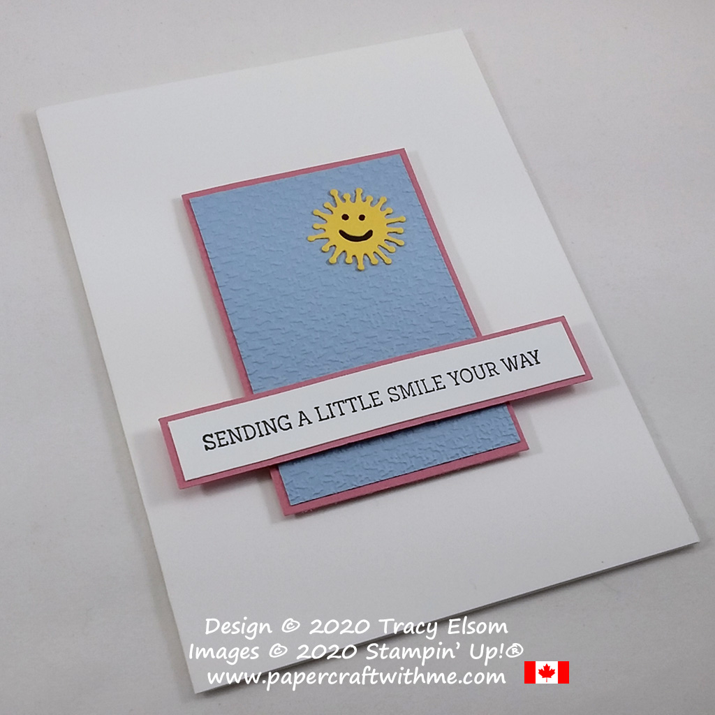 """""""Sending a little smile your way"""" card created using the Fancy Phrases Stamp Set, Poppy Moments Dies and Tasteful Textile 3D Embossing Folder, all from Stampin' Up! #papercraftwithme"""