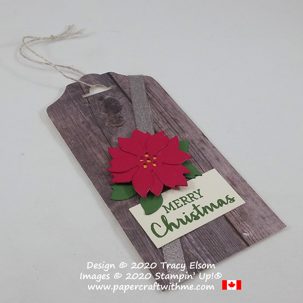 Poinsettia Christmas gift tag created using the Arrange A Wreath Stamp Set and coordinating Wreath Builder Dies from Stampin' Up! #papercraftwithme