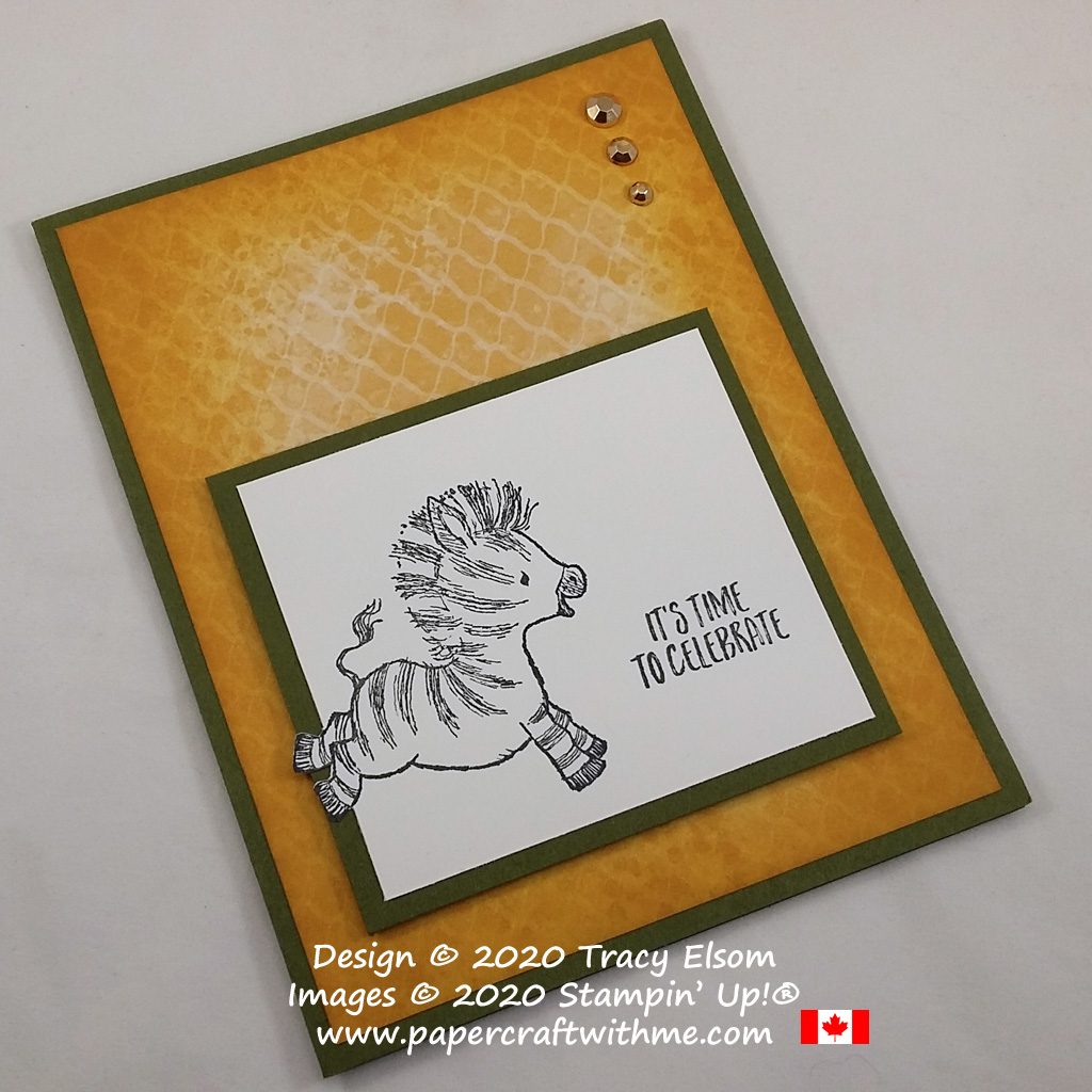 It's time to celebrate with this simple card featuring a cute galloping zebra created using the Zany Zebras Stamp Set from Stampin' Up! #papercraftwithme