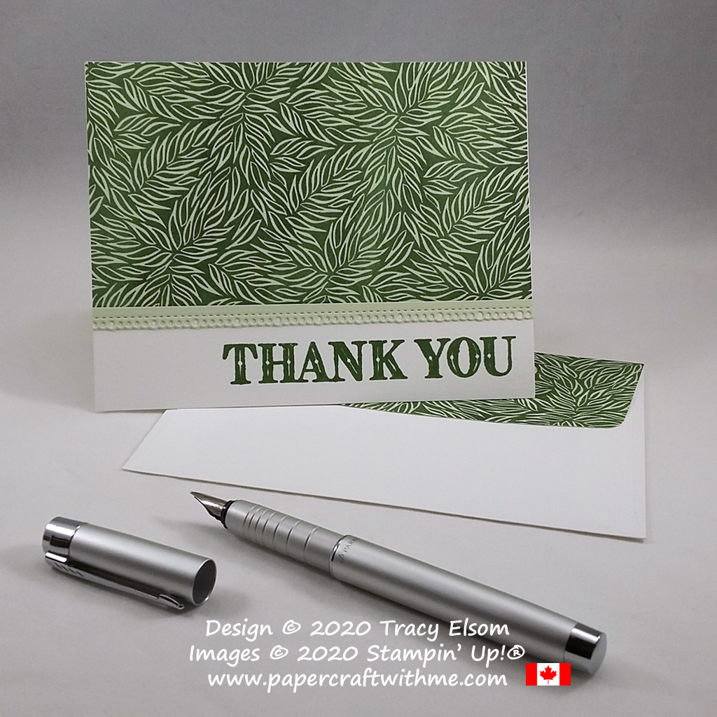 Masculine thank you card with leaf print design using products from the Ornate Garden Suite from Stampin' Up! #papercraftwithme
