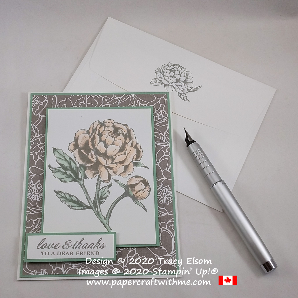 The shading is done for you on this thanks card with a Distinktive® image from the Prized Peony Stamp Set from Stampin' Up! #papercraftwithme