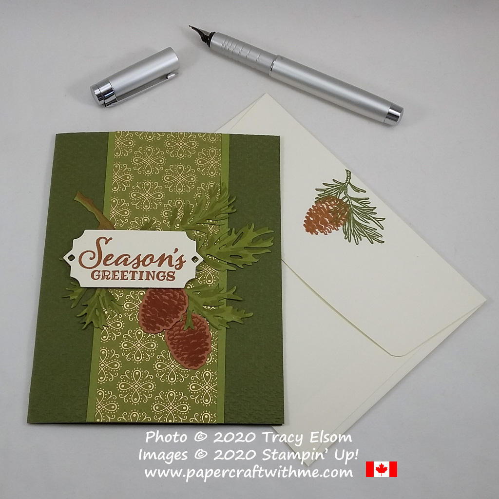 """Seasons Greetings"" card with fir branch stamped in Old Olive and Cinnamon Cider created using the Peaceful Boughs Stamp Set and Beautiful Boughs Dies from Stampin' Up! #papercraftwithme"