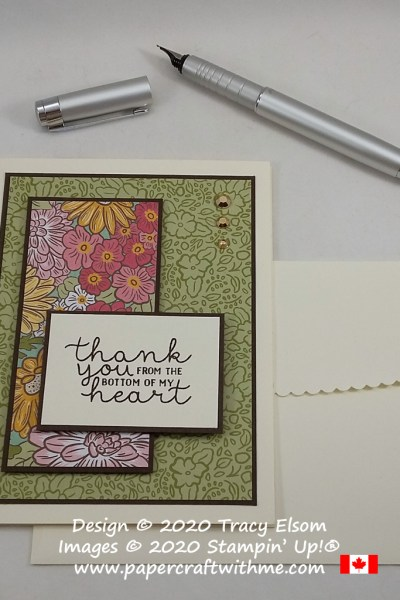 Floral thank you card created using the Bloom & Grow Stamp Set. The scalloped envelope flap was created with the Envelopes Dies, also from Stampin' Up! #papercraftwithme