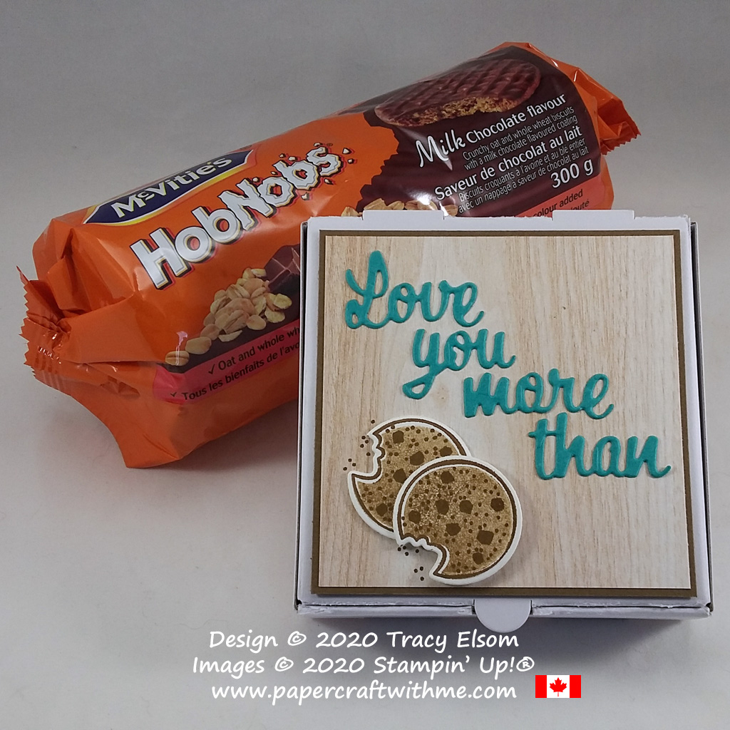 """Mini Pizza Box with """"love you more than"""" sentiment and cookie images created using the Nothing's Better Than Stamp Set and coordinating Love You More Than Dies from Stampin' Up! #papercraftwithme"""