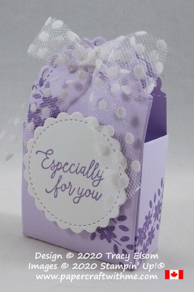 """Especially for You"" - pretty treat package created using the Little Treats Stamp Set and coordinating Little Treat Box Dies from Stampin' Up! #papercraftwithme"