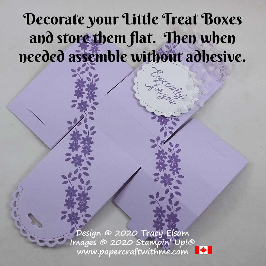 Decorate small treat packages created using the Little Treat Box Dies from Stampin' Up! Then store them flat until needed and assemble without glue. #papercraftwithme